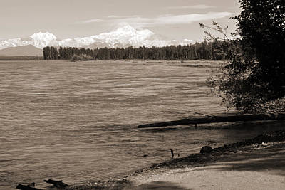 Photograph - Denali At Talkeetna Bw Sepia. Alaska Landscapes  by Connie Fox
