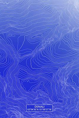 Denali Colored Contour Map Of Denali In Alaska Usa Art Print