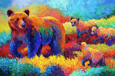 Bear Cub Painting - Denali Family by Marion Rose