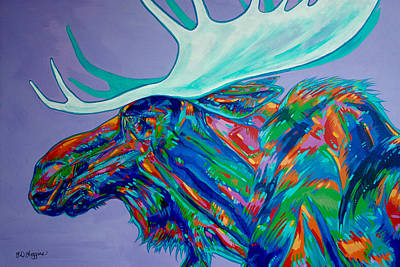 Brilliant Painting - Denali Moose Head by Derrick Higgins
