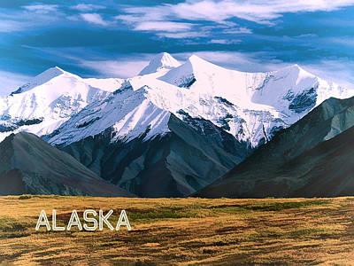 Denali Painting - Denali National Park Alaska  Text Alaska by Elaine Plesser