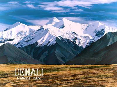 Denali Painting - Denali National Park Alaska  Text Denali by Elaine Plesser