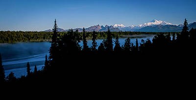 Denali Over The Susitna River Art Print