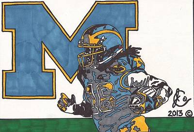 Action Sports Art Drawing - Denard Robinson 1 by Jeremiah Colley