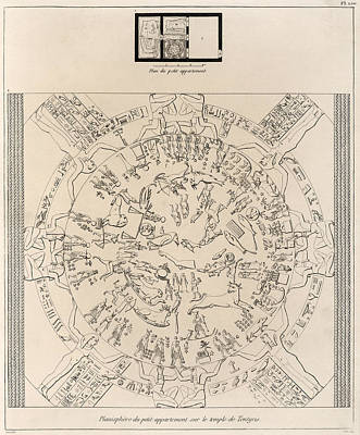 In Relief Photograph - Dendera Zodiac From The Temple Of Hathor by Humanities And Social Sciences Libraryasian And Middle Eastern Division