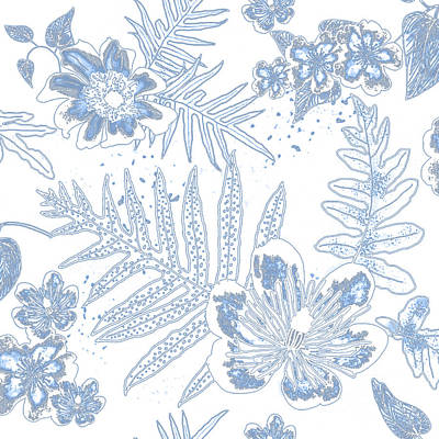 Digital Art - Denim Fern Batik Outline by Karen Dyson