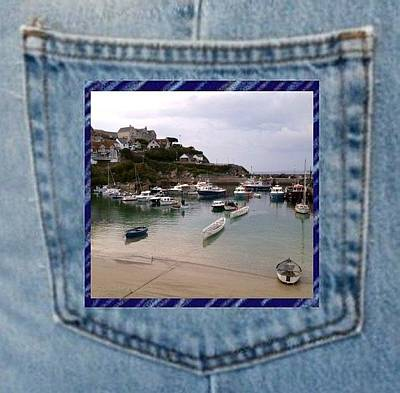 Photograph - Denim Pocket Harbour Photo Newquay Cornwall by Julia Woodman