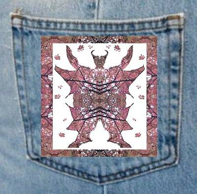 Photograph - Denim Pocket Horned Man B - Made From Tree Leaves Photo 801 by Julia Woodman