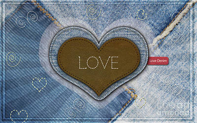 Digital Art - Denim Valentines Card by Scott Parker