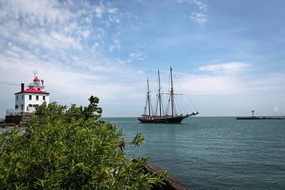 Historic Schooner Photograph - Denis Sullivan At Fairport Harbor by Dale Kincaid