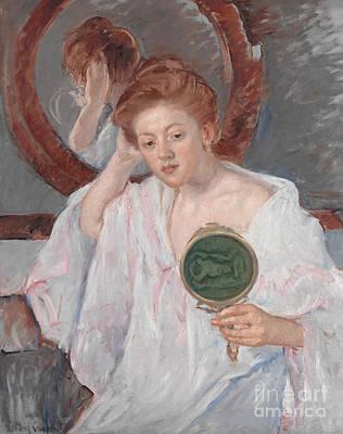 Hair Bun Painting - Denise At Her Dressing Table by Mary Stevenson Cassatt
