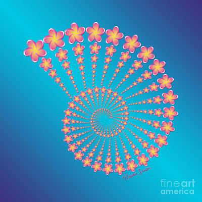 Denise's Frangipani  Spiral Shell Art Print