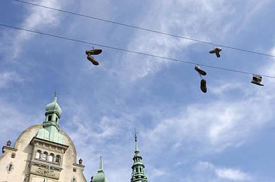 Denmark, Copenhagen, Amager Torv, Shoes Art Print