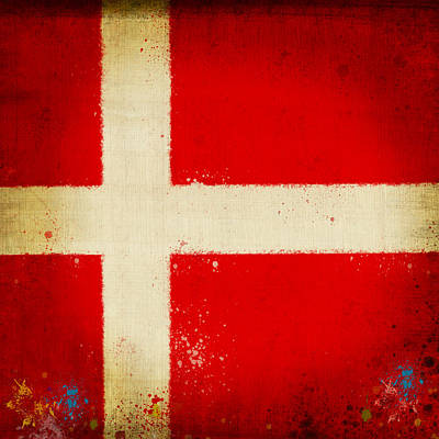 Stained Painting - Denmark Flag by Setsiri Silapasuwanchai