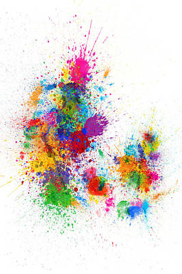 Digital Art - Denmark Map Paint Splashes by Michael Tompsett