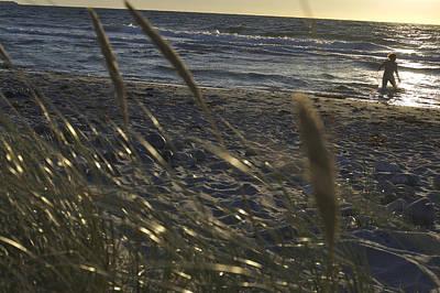 Walking In Tide Photograph - Denmark, Rorvig, Person Walks by Keenpress