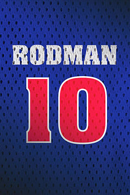 Closeup Mixed Media - Dennis Rodman Detroit Pistons Number 10 Retro Vintage Jersey Closeup Graphic Design by Design Turnpike