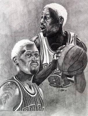 Drawing - Dennis Rodman by Devin Millington