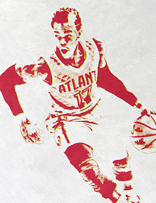Hawk Mixed Media - Dennis Schroder Atlanta Hawks Pixel Art by Joe Hamilton
