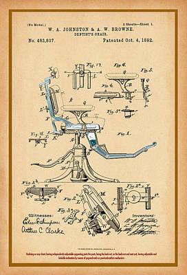 Digital Art - Dentist Chair Patent Drawing by Carlos Diaz