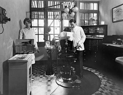 Dentist Photograph - Dentist Office At Sanatarium by Underwood Archives