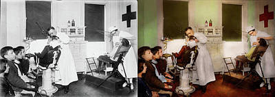 Photograph - Dentist - Treating Them Like Children 1922 - Side By Side by Mike Savad