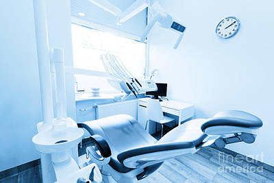 Professional Photograph - Dentist's Office. Dental Equipment, Modern, Clean Interior. Blue Tone by Michal Bednarek