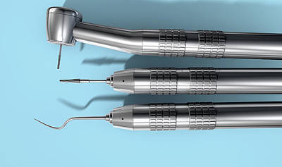 Healthcare And Medicine Digital Art - Dentists Tools by Allan Swart