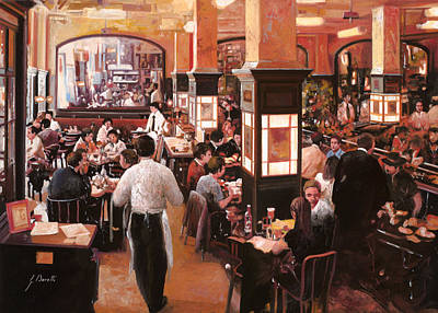 Cocktails Painting - Dentro Il Caffe by Guido Borelli