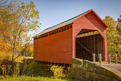 Photograph - Dents Run Or Laurel Point Covered Bridge by Jack R Perry