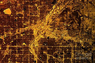 Usa Digital Art - Denver Abstract City Map Golden by Frank Ramspott