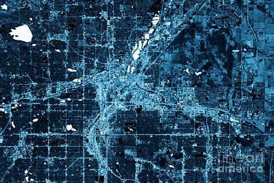 Landscape Digital Art - Denver Abstract City Map Top View Dark by Frank Ramspott