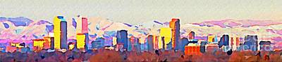 Science Collection - Denver and the Rocky Mountains Panoramic Watercolor by John Malone