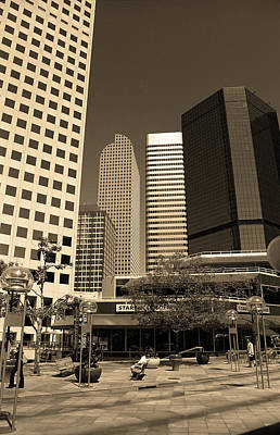 Art Print featuring the photograph Denver Architecture Sepia by Frank Romeo