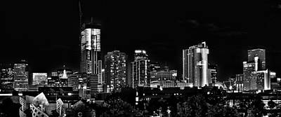 Denver Skyline Photograph - Denver At Night In Black And White by Kevin Munro