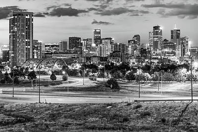 Photograph - Denver Black And White Skyline Early Morning by Gregory Ballos