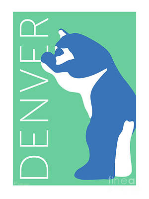 Digital Art - Denver Blue Bear/aqua by Sam Brennan
