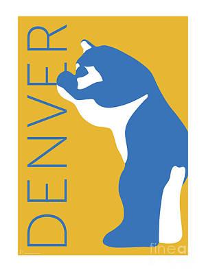 Convention Digital Art - Denver Blue Bear/gold by Sam Brennan