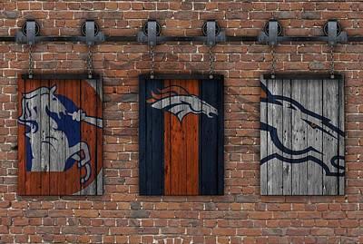 Denver Broncos Brick Wall Art Print
