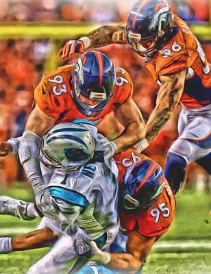 Oil Mixed Media - Denver Broncos Oil Art 2 by Joe Hamilton