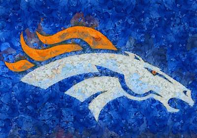 Champion Mixed Media - Denver Broncos Painted Logo by Dan Sproul