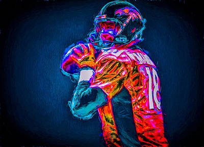 Photograph - Denver Broncos Peyton Manning Digitally Painted Mix 3 by David Haskett II