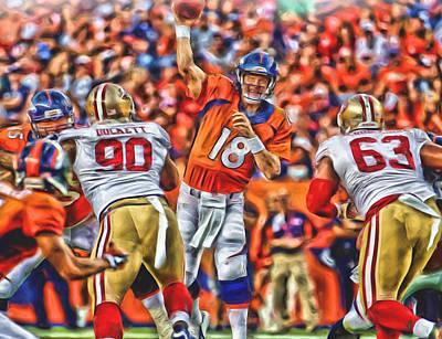 Peyton Manning Mixed Media - Denver Broncos Peyton Manning Oil Art by Joe Hamilton