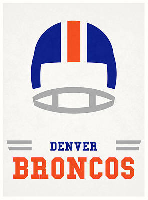 Mixed Media - Denver Broncos Vintage Nfl Art by Joe Hamilton