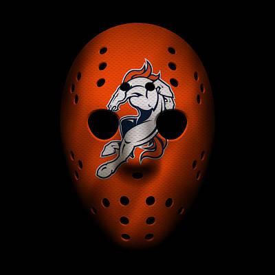 Denver Broncos War Mask 2 Print by Joe Hamilton