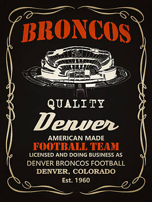 Team Painting - Denver Broncos Whiskey 2 by Joe Hamilton