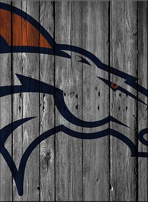 Denver Broncos Wood Fence Art Print