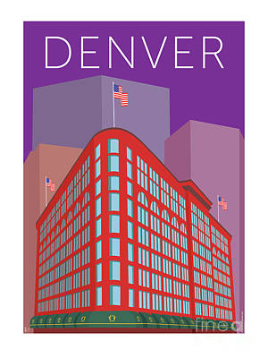 Digital Art - Denver Brown Palace/purple by Sam Brennan