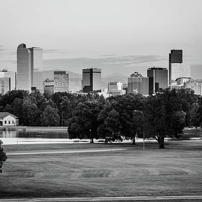 Photograph - Denver Bw Skyline - Square Format by Gregory Ballos