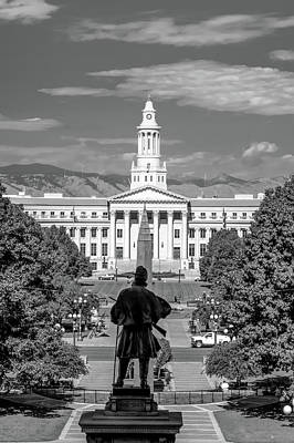 Photograph - Denver Capitol Mile High Mountain View - Black And White by Gregory Ballos